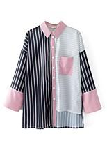 Camicia Da donna Per uscire Casual Sensuale Semplice Moda città Primavera Autunno,A strisce Monocolore Colletto Cotone Altro Manica lunga