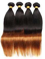 vierge Cheveux Brésiliens A Ombre Raide Extensions de cheveux 4 Noir / Medium Auburn