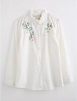 Mädchen Hemd einfarbig Bestickt Baumwolle Herbst Lange Ärmel
