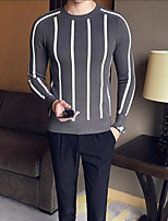 Men's Casual/Daily Regular Pullover,Color Block Crew Neck Long Sleeves Others Spring Winter Medium Micro-elastic