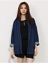 Women's Casual/Daily Simple Fall Denim Jacket,Solid Peaked Lapel Long Sleeve Regular Cotton