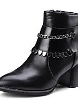 Для женщин Обувь Дерматин Зима Оригинальная обувь Модная обувь Ботинки На толстом каблуке Заостренный носок Сапоги до середины икры