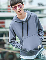 Men's Going out Hoodie Solid Hooded Micro-elastic Cotton Long Sleeve Fall