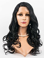 Women Synthetic Wig Lace Front Long Body Wave Dark Brown Black Dark Black Medium Brown Natural Wigs Costume Wig