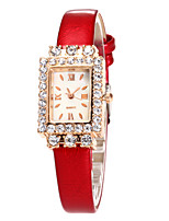 Women's Fashion Watch Wrist watch Quartz Rhinestone Leather Band Casual Black White Blue Red Brown Pink Purple Rose