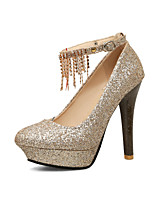 Women's Shoes PU Spring Fall Comfort Heels Chunky Heel Round Toe Rhinestone Chain For Outdoor Office & Career Red Silver Gold
