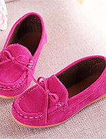 Girls' Shoes Suede Summer Fall Moccasin Comfort Loafers & Slip-Ons Bowknot For Casual Party & Evening Wine Blue Brown Fuchsia Yellow
