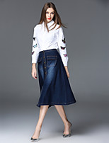 FRMZ Women's Casual/Daily Work Simple Spring Fall Shirt Skirt Suits,Embroidery Shirt Collar Long Sleeve Micro-elastic