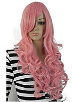 Women Synthetic Wig Capless Long Curly Pink With Bangs Party Wig Halloween Wig Cosplay Wig Natural Wigs Costume Wig