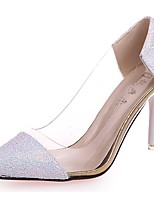 Damen Schuhe Paillette Herbst Komfort High Heels Stöckelabsatz Spitze Zehe Kombination Für Normal Weiß Schwarz Purpur Rosa