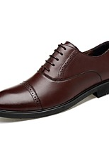 Men's Shoes Real Leather Nappa Leather Cowhide Fall Winter Comfort Formal Shoes Driving Shoes Oxfords Lace-up For Party & Evening Office