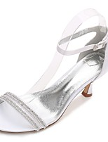 Women's Shoes Satin Spring Summer D'Orsay & Two-Piece Basic Pump Comfort Ankle Strap Wedding Shoes Low Heel Kitten Heel Stiletto Heel