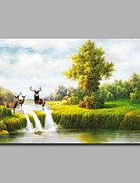Hand-Painted Landscape Horizontal,Artistic Nature Inspired Birthday Modern/Contemporary Office/Business Christmas New Year's One Panel