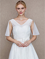 Lace Tulle Wedding Party / Evening Women's Wrap With Applique Lace Side-Draped Vests
