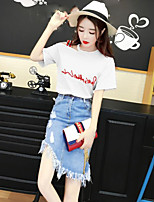 Women's Casual/Daily Simple Summer T-shirt Skirt Suits,Letter & Number Round Neck Short Sleeve