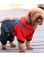 Cane Tuta Abbigliamento per cani Casual Cartoni animati Giallo Rosso
