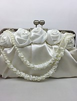 Women Bags All Seasons Silk Evening Bag Flower(s) for Wedding Event/Party Champagne White
