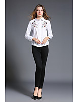 SHE IN SUN Women's Casual/Daily Work Simple Spring Fall Shirt,Striped Embroidery Shirt Collar Long Sleeves Polyester Medium