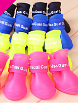 Dog Shoes & Boots Waterproof Solid Yellow Red Green Blue Blushing Pink