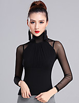 Latin Dance Tops Women's Performance Modal Pleated 1 Piece Long Sleeve Natural Top
