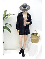 Women's Going out Casual/Daily Simple Spring Fall Denim Jacket,Solid Letter Hooded Long Sleeve Regular Others