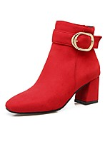 Women's Shoes Nubuck leather Fall Winter Comfort Boots Chunky Heel Square Toe Buckle Zipper For Outdoor Office & Career Red Gray Black