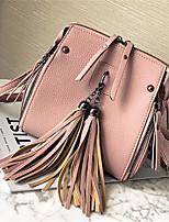 Women Bags All Seasons PU Shoulder Bag Zipper for Casual Black Red Blushing Pink Light Green Brown