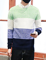Men's Casual/Daily Street chic Regular Pullover,Color Block Round Neck Long Sleeves Others Spring Winter Medium Micro-elastic