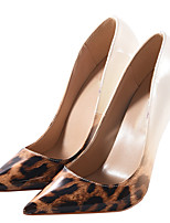 Women's Heels Basic Pump Spring Fall PU Casual Party & Evening Stiletto Heel Screen Color Leopard Black/Silver 5in & over