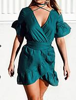 Damen Bodycon Kleid-Party Klub Sexy Einfach Street Schick Solide Tiefes V Mini Kurzarm Polyester Sommer Herbst Hohe Hüfthöhe
