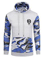 Men's Sports Casual/Daily Simple Active Hoodie Color Block Camouflage Hooded Micro-elastic Cotton Long Sleeve Spring Fall Winter