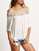Women's Going out Club Sexy Simple Spring Fall T-shirtColor Block Boat Neck Half Sleeves Polyester Medium