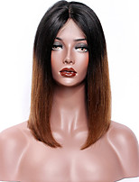 Women Human Hair Lace Wig Peruvian Remy Lace Front 130% Density Bob Haircut Straight Wig Black/Medium Auburn Short Virgin