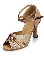 Damen Seide Sandalen Absätze Sneaker Innen Farbaufsatz Stöckelabsatz Gold Purpur 7,5 - 9,5 cm Maßfertigung