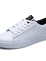 Unisex Shoes PU Spring Fall Comfort Sneakers Flat Heel Round Toe Lace-up For Casual White/Green Black/White