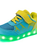 Boys' Shoes Leatherette Net Fall Winter Light Up Shoes Comfort Sneakers LED Hook & Loop Lace-up For Casual Outdoor Blushing Pink Yellow