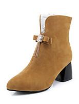 Femme Chaussures Similicuir Automne Hiver Bottes à la Mode Bottes Gros Talon Bout fermé Bottine/Demi Botte Strass Noeud Gland Pour