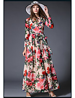 SHE IN SUN Women's Going out Casual/Daily Sexy Cute Sheath Swing Dress,Floral Round Neck Maxi Long Sleeves Polyester Spring Summer High Rise