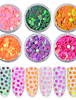 6Pcs Aurora Round Ultrathin Sequins Nail Art Glitter Tips Unicorn Colorful Manicure 3D Nail Decoration DIY Accessories