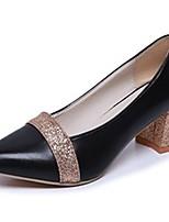 Feminino Sapatos Couro Ecológico Outono Conforto Saltos Salto Grosso Dedo Apontado Combinação Para Casual Dourado Preto Prateado