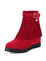 Feminino Sapatos Pele Nobuck Courino Outono Inverno Botas da Moda Curta/Ankle Botas Rasteiro Ponta Redonda Botas Curtas / Ankle Pedrarias