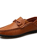 Men's Shoes Cowhide Leatherette Summer Fall Comfort Loafers & Slip-Ons With Split Joint For Casual Light Brown Black