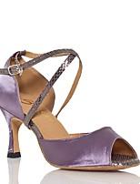 Da donna Balli latino-americani Seta Sandali Esibizione Incrociato Tacco cubano Viola Verde 5 - 6,8 cm 7,5 - 9,5 cm Personalizzabile