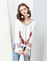NO PEI SHU Women's Casual/Daily Boho Chinoiserie Regular Pullover,Solid Rainbow V Neck Long Sleeves Wool Polyester Fall Winter Thick Micro-elastic