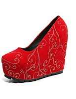 Women's Shoes Suede Fall Novelty Heels Wedge Heel Round Toe For Casual Dress Red Black