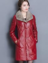 Women's Plus Size Going out Street chic Winter Fur Coat,Solid Color Block Shirt Collar Long Sleeve Regular PU Goatskin Fur Trim