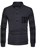 Men's Casual/Daily Simple Regular Pullover,Striped Stand Long Sleeves Cotton Fall Winter Medium Stretchy