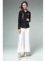 Women's Holiday Going out Vintage Winter Spring Shirt,Embroidery Shirt Collar Long Sleeves Cotton