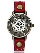 Women's Fashion Watch Wrist watch Unique Creative Watch Chinese Quartz Leather Band Vintage Charm Elegant Casual Black Red Orange Green