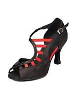 Для женщин Латина Шёлк Сандалии Концертная обувь С пряжкой Кубинский каблук Черный Лиловый Коричневый Черный/Красный 5 - 6,8 см
